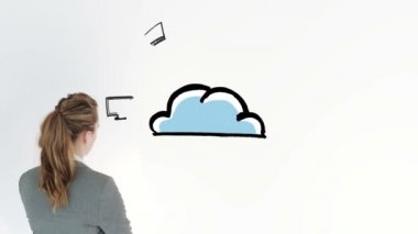 Animation showing electronic devices circling a cloud and a businesswoman — Stock Video
