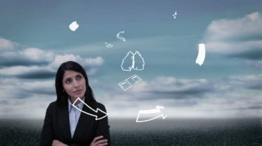 Content businesswoman watching holographic brain having idea — Stock Video