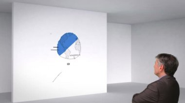 Business plan in 3d room and man watching — Stock Video