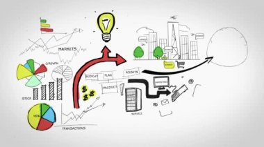 Animation on business growth and development — Video Stock