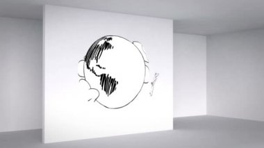 Colored animation showing 3d room and planes circling earth — Stock Video