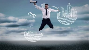 Businessman jumping in front of animated global influence graphic — Stock Video