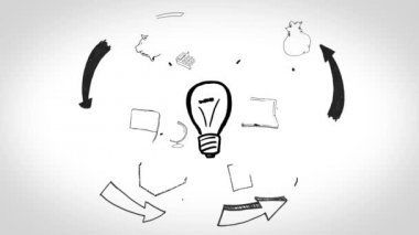 Animation of having idea and developing a plan — Stock Video
