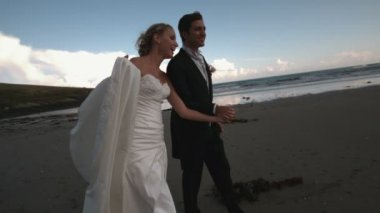 Cheerful newlywed couple walking and kissing on the beach — Stockvideo