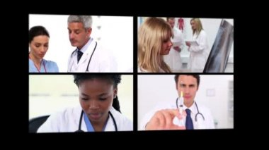 Several different short clips showing doctors — Stock Video