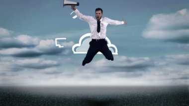 Businessman with megaphone jumping in front of animated cloud computing — Stock Video