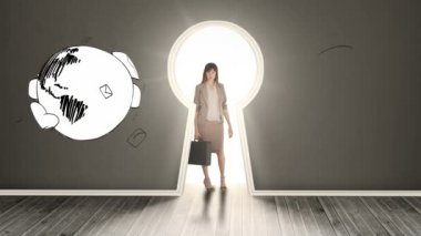 Businesswoman posing in glowing keyhole surrounded by spinning earths — Stock Video
