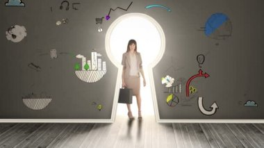Businesswoman posing in glowing keyhole surrounded by animations — Stock Video