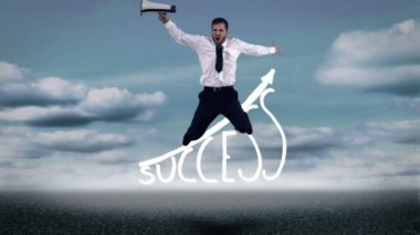 Businessman jumping over success graphic — Stock Video