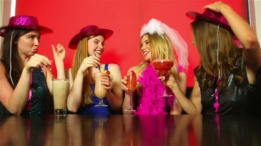 Dressed up friends having hen party — Stock Video