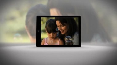 Tablet filming family in different locations — Stock Video