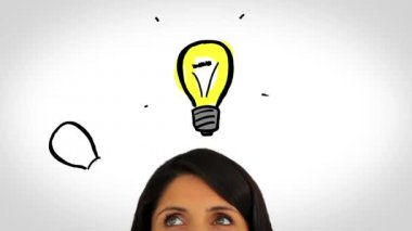 Animation of light bulbs appearing over a womans head — Stock Video
