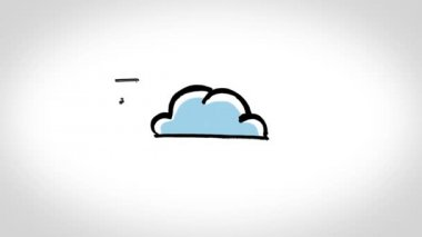 Animation showing electronic devices circling a cloud and exchanging — Stock Video