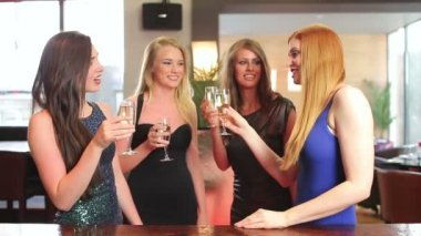 Well dressed friends having a toast with champagne — Stock Video