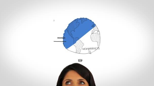 Plan d'affaires et une femme observant — Vidéo