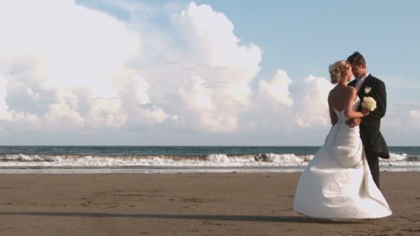 Mariés attrayant baiser sur la plage — Vidéo