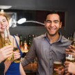 Chatting friends drinking beer  — Stock Photo