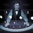 Picture of croupier standing behind holographic cards — Stock Photo #33441005