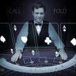Stock Photo: Picture of croupier standing behind holographic cards