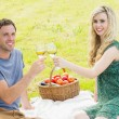 Sweet young couple having picnic  — Stock Photo