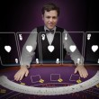 Стоковое фото: Picture of croupier standing behind holographic cards