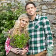 Couple standing in a garden — Stock Photo