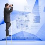 Businessman looking through binoculars to holographic finger print — Stock Photo