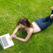 Pretty young woman lying on a lawn using her laptop — Stock Photo