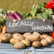Organic vegetables on a stand at a farmers market — ストック写真