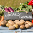 Organic vegetables on stand at farmers market — Stock Photo #33445393