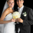 Content married couple posing holding champagne glasses — Stock Photo #33446045