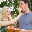Blonde woman feeding her boyfriend with an apple — Stock Photo