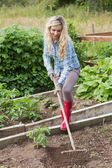 Blonde woman working with a rake — Stock Photo