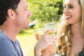 Young couple toasting and linking arms — Stock Photo
