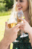 Woman clinking her glass with her boyfriend — Stock Photo