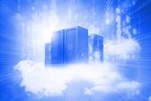 Błyszczący jasny hologram server wieże w chmury — Zdjęcie stockowe