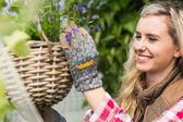 Smiling woman fixing a hanging flower basket — Stock Photo