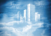 Digitally generated hologram of city in clouds — Stock Photo