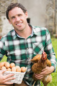 Young man holding his chicken and basket of eggs — Foto Stock
