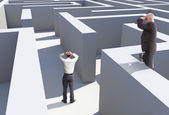 Two businessmen standing in maze — Stock Photo