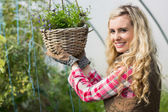 Happy woman touching a hanging flower basket — Stockfoto