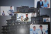 Futuristic interface showing business people — Stock Photo