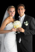 Content married couple posing holding champagne glasses — Foto Stock