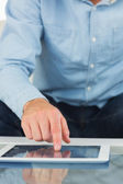 Close up of man using tablet — Stock Photo