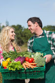 Happy couple presenting vegetables while looking at each other — Stock Photo