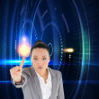 Foto de Stock  : Composite image of unsmiling asibusinesswompointing