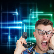 Frustrated computer engineer screaming while on call — Stock Photo