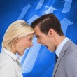 Stock Photo: Colleagues quarreling head against head