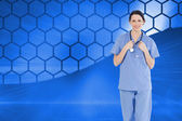 Medical intern wearing a blue short-sleeve uniform — 图库照片