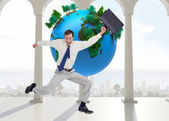 Cheerful jumping businessman with his suitcase — Stock Photo